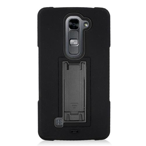 Insten Hybrid Stand Rubber Silicone/PC Case For LG Volt 2, Black