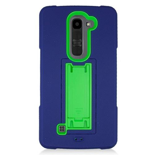 Insten Hybrid Stand Rubber Silicone/PC Case For LG Volt 2, Blue/Green
