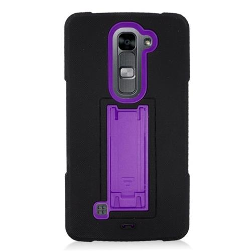 Insten Hybrid Stand Rubber Silicone/PC Case For LG Volt 2, Black/Purple