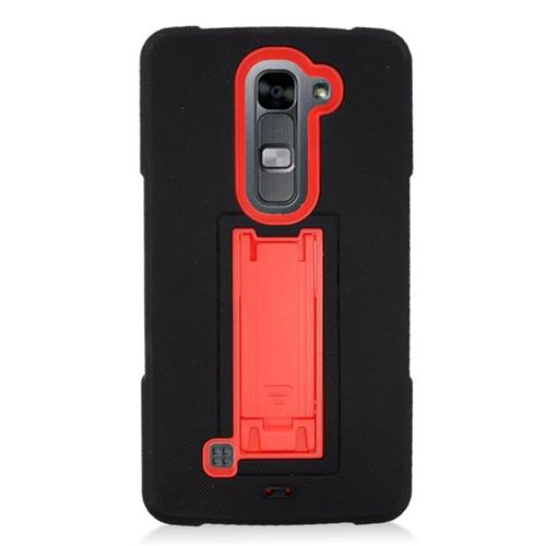 Insten Hybrid Stand Rubber Silicone/PC Case For LG Volt 2, Black/Red