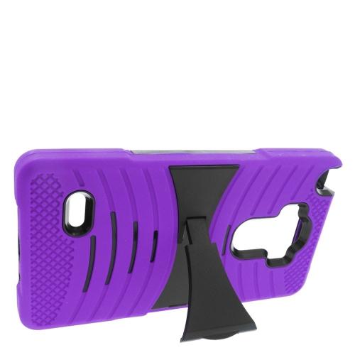 Insten Wave Hybrid Stand Rubber Silicone/PC Case For LG G Stylo LS770/G Vista 2, Purple/Black