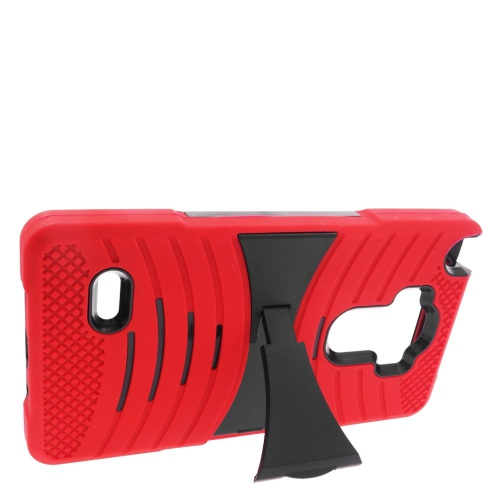 Insten Wave Hybrid Stand Rubber Silicone/PC Case For LG G Stylo LS770/G Vista 2, Red/Black
