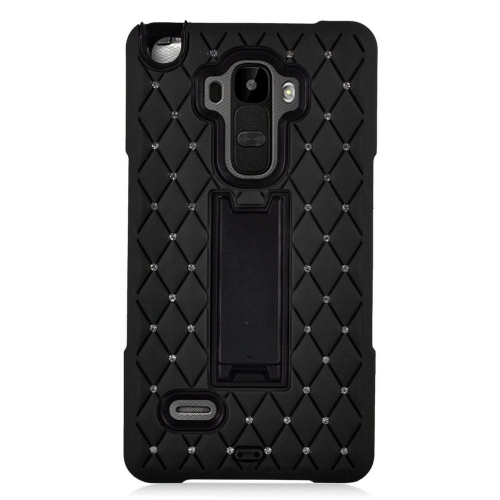 Insten Hybrid Stand Silicone/PC Case With Diamond Compatible LG G Stylo LS770/G Vista 2, Black
