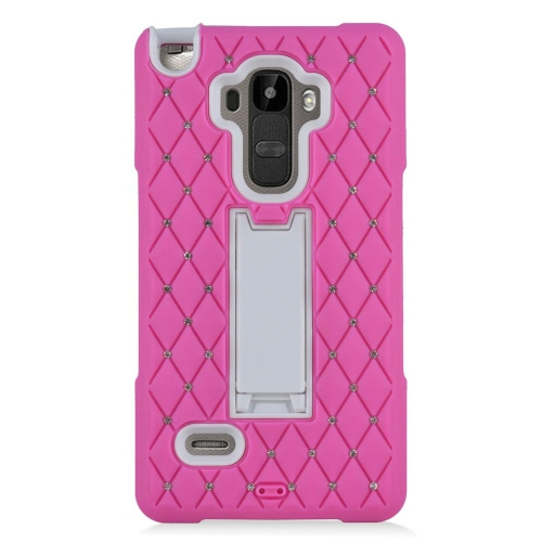 Insten Hybrid Silicone/PC Case With Diamond Compatible LG G Stylo LS770/G Vista 2, Hot Pink/White