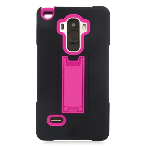 Insten Hybrid Stand Rubber Silicone/PC Case For LG G Stylo LS770/G Vista 2, Black/Hot Pink
