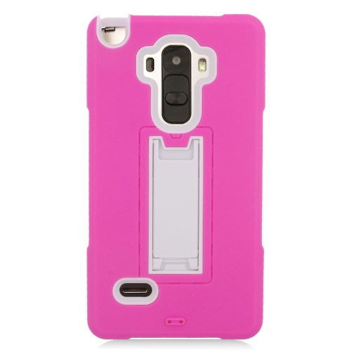 Insten Hybrid Stand Rubber Silicone/PC Case For LG G Stylo LS770/G Vista 2, Hot Pink/White
