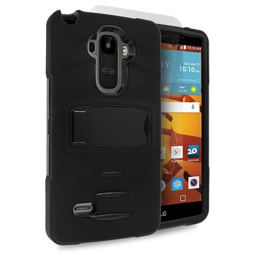 Insten Hybrid Stand Rubber Silicone/PC Case w/Screen Protector For LG G Stylo LS770/G Vista 2, Black