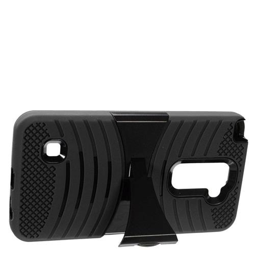 Insten Wave Hybrid Stand Rubber Silicone/PC Case For LG Stylus 2, Black