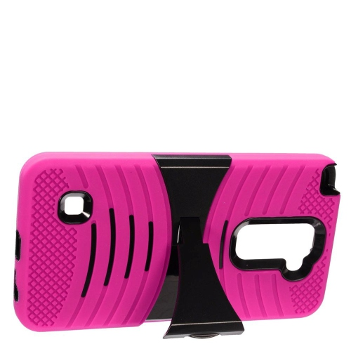 Insten Wave Hybrid Stand Rubber Silicone/PC Case For LG Stylus 2, Hot Pink/Black