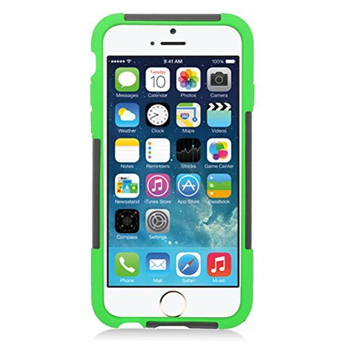Insten Dual Layer Hybrid Stand PC Silicone Case Cover Compatible With Apple iPhone 6 6s, Black Green