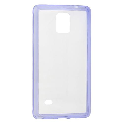 Insten TPU Rubber Candy Skin Case Cover Compatible With Samsung Galaxy Note 4, Clear/Purple