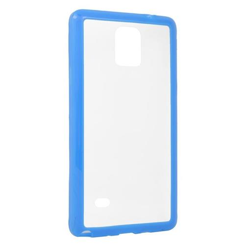 Insten TPU Rubber Candy Skin Case Cover Compatible With Samsung Galaxy Note 4, Clear/Blue