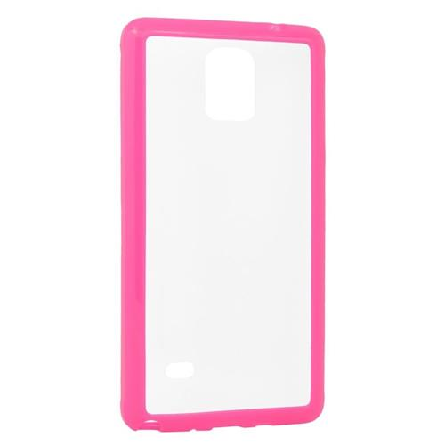 Insten TPU Rubber Candy Skin Case Cover Compatible With Samsung Galaxy Note 4, Clear/Hot Pink