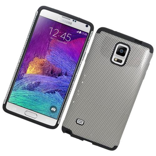 Insten Carbon Fiber Hybrid Rubberized Hard PC/Silicone Case For Samsung Galaxy Note 4, Silver/Black