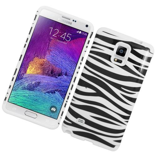 Insten Zebra Hybrid Rubberized Hard PC/Silicone Case For Samsung Galaxy Note 4, White/Black