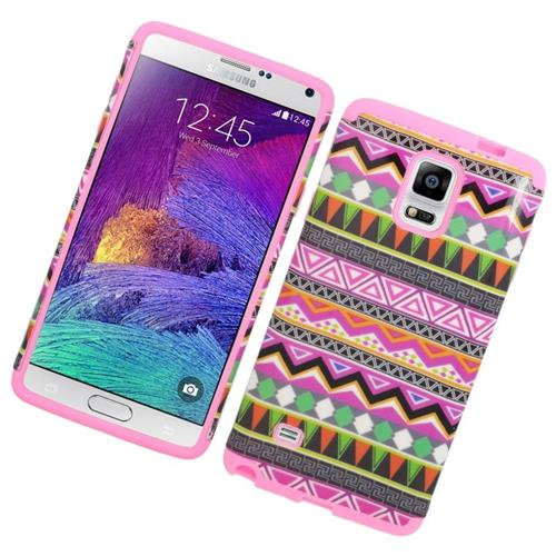 Insten Eggplant tribal Hybrid Rubberized Hard PC/Silicone Case For Samsung Galaxy Note 4, Colorful
