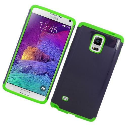 Insten Hybrid Rubberized Hard PC/Silicone Case For Samsung Galaxy Note 4, Blue/Green
