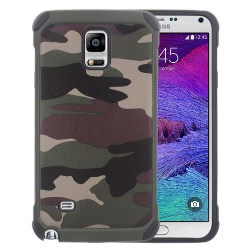 Insten Camouflage Hybrid Rubberized Hard PC/Silicone Case For Samsung Galaxy Note 4, Green/Black