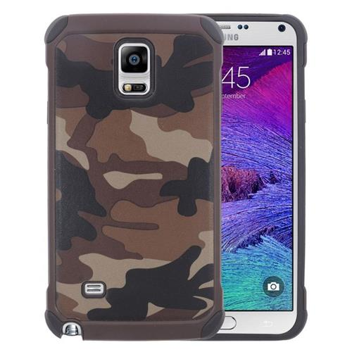 Insten Camouflage Hybrid Rubberized Hard PC/Silicone Case For Samsung Galaxy Note 4, Brown/Black