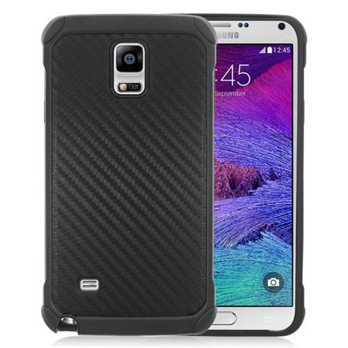 Insten Carbon Fiber Hybrid Rubberized Hard PC/Silicone Case For Samsung Galaxy Note 4, Black