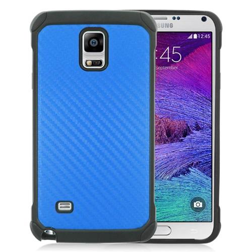 Insten Carbon Fiber Hybrid Rubberized Hard PC/Silicone Case For Samsung Galaxy Note 4, Blue/Black