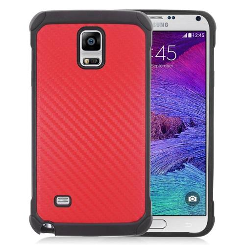 Insten Carbon Fiber Hybrid Rubberized Hard PC/Silicone Case For Samsung Galaxy Note 4, Red/Black