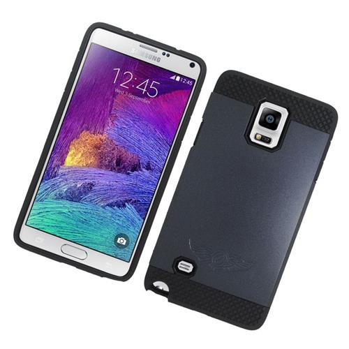 Insten Hybrid Rubberized Hard PC/Silicone Case For Samsung Galaxy Note 4, Black