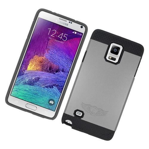 Insten Hybrid Rubberized Hard PC/Silicone Case For Samsung Galaxy Note 4, Gray/Black