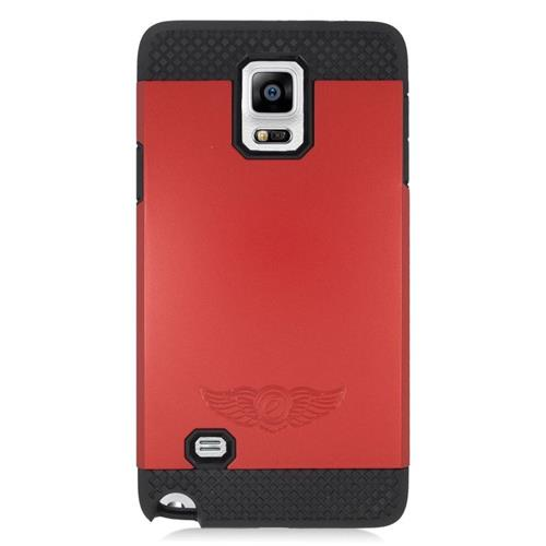 Insten Hybrid Rubberized Hard PC/Silicone Case For Samsung Galaxy Note 4, Red/Black