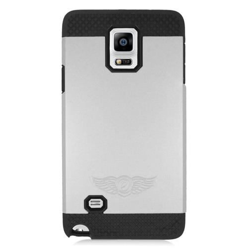 Insten Hybrid Rubberized Hard PC/Silicone Case For Samsung Galaxy Note 4, Silver/Black