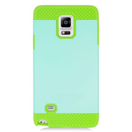Insten Hybrid Rubberized Hard PC/Silicone Case For Samsung Galaxy Note 4, Mint/Green
