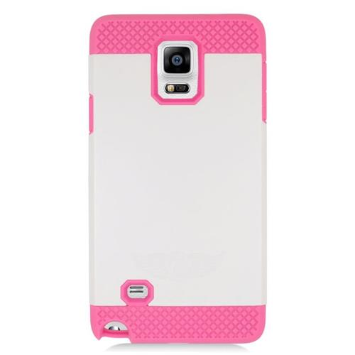 Insten Hybrid Rubberized Hard PC/Silicone Case For Samsung Galaxy Note 4, White/Hot Pink