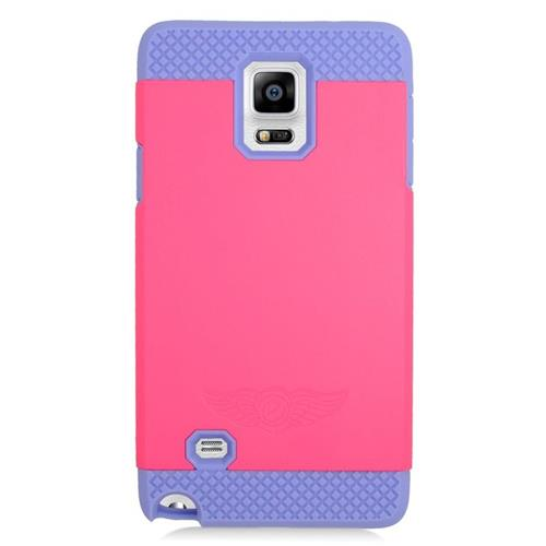 Insten Hybrid Rubberized Hard PC/Silicone Case For Samsung Galaxy Note 4, Hot Pink/Purple