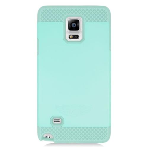 Insten Hybrid Rubberized Hard PC/Silicone Case For Samsung Galaxy Note 4, Mint