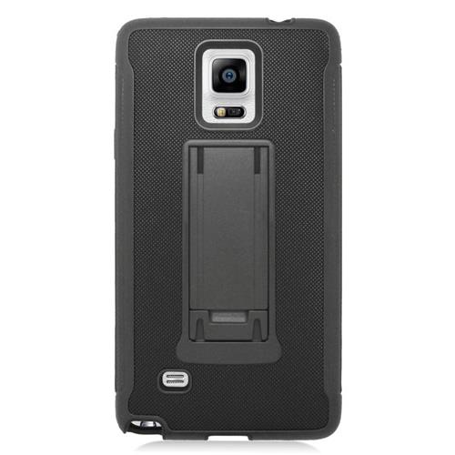 Insten Dual Layer Hybrid Stand PC/Silicone Case Cover Compatible With Samsung Galaxy Note 4, Black