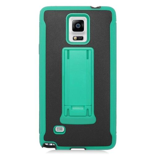 Insten Hybrid Stand PC/Silicone Case For Samsung Galaxy Note 4, Black/Green
