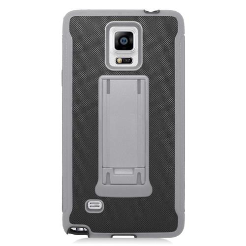 Insten Hybrid Stand PC/Silicone Case For Samsung Galaxy Note 4, Black/Gray