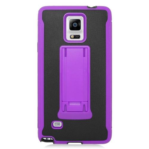Insten Hybrid Stand PC/Silicone Case For Samsung Galaxy Note 4, Black/Purple