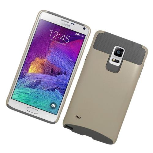 Insten Hybrid Rubberized Hard PC/Silicone Case For Samsung Galaxy Note 4, Gold/Gray