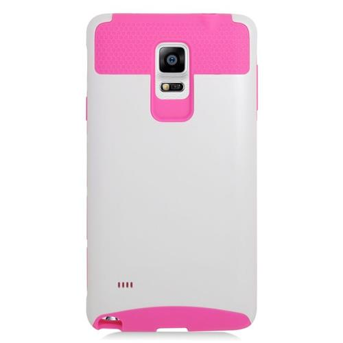 Insten Hybrid Rubberized Hard PC/Silicone Case For Samsung Galaxy Note 4, Hot Pink/White