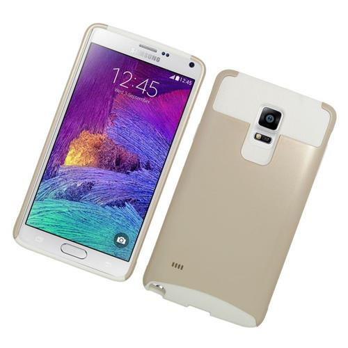 Insten Hybrid Rubberized Hard PC/Silicone Case For Samsung Galaxy Note 4, Gold/White