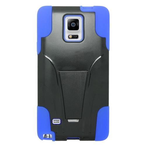 Insten Hybrid Stand PC/Silicone Case For Samsung Galaxy Note 4, Black/Blue
