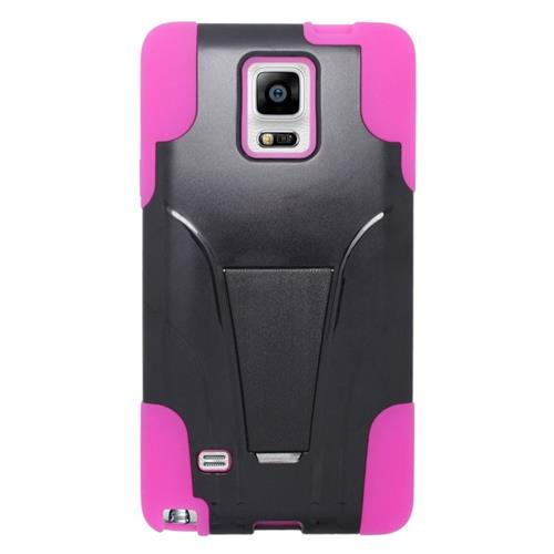 Insten Hybrid Stand PC/Silicone Case For Samsung Galaxy Note 4, Black/Hot Pink