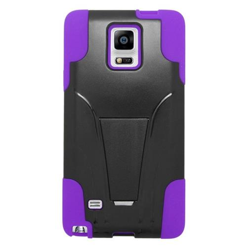 Insten Dual Layer Hybrid Stand PC/Silicone Case Cover Compatible With Samsung Galaxy Note 4, Purple