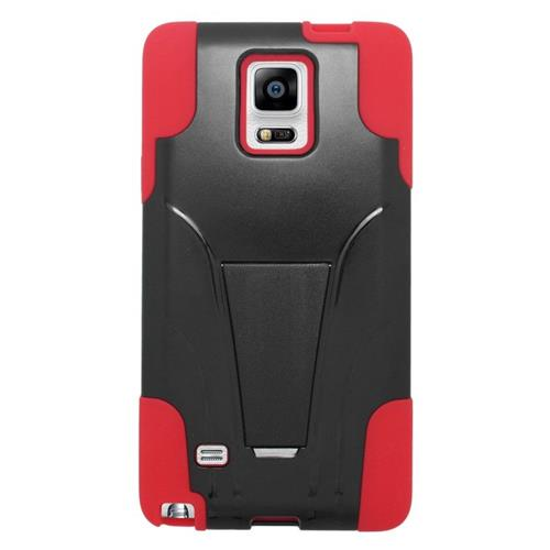 Insten Hybrid Stand PC/Silicone Case For Samsung Galaxy Note 4, Black/Red
