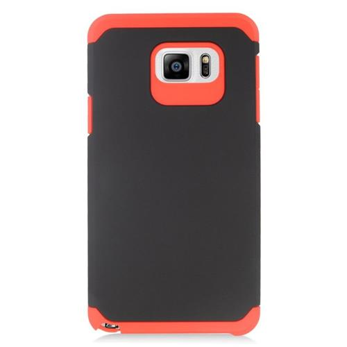 Insten Hybrid Rubberized Hard PC/Silicone Case For Samsung Galaxy Note 5, Black/Red