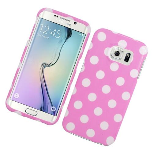 Insten Polka Dots Rubberized Hard Snap-in Case For Samsung Galaxy S6 Edge, Pink/White