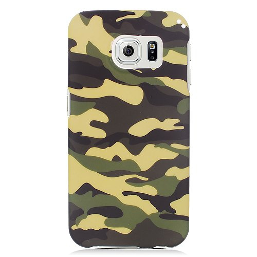 Insten Camouflage Rubberized Hard Snap-in Case For Samsung Galaxy S6 Edge, Green/Black