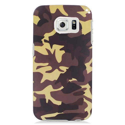 Insten Camouflage Rubberized Hard Snap-in Case Cover Compatible With Samsung Galaxy S6 Edge, Brown