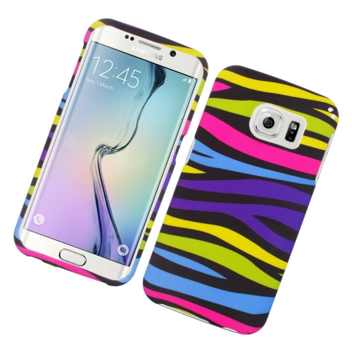 Insten Zebra Rubberized Hard Snap-in Case Cover Compatible With Samsung Galaxy S6 Edge, Colorful